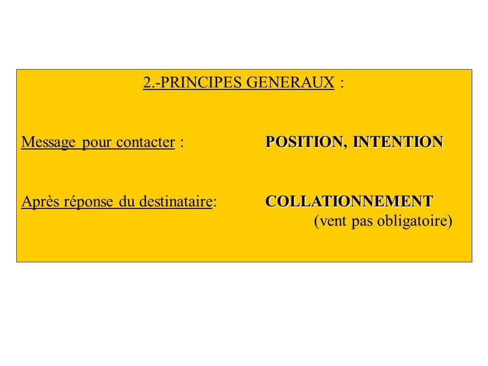 2.-PRINCIPES GENERAUX : POSITION, INTENTION Message pour contacter : POSITION, INTENTION COLLATIONNEMENT Après réponse du destinataire: COLLATIONNEMEN