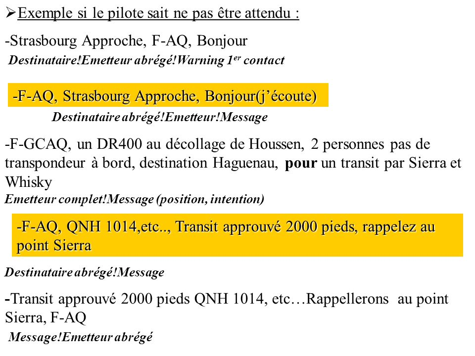 Exemple si le pilote sait ne pas être attendu : ! -Strasbourg Approche, F-AQ, Bonjour Destinataire!Emetteur abrégé!Warning 1 er contact Destinataire a