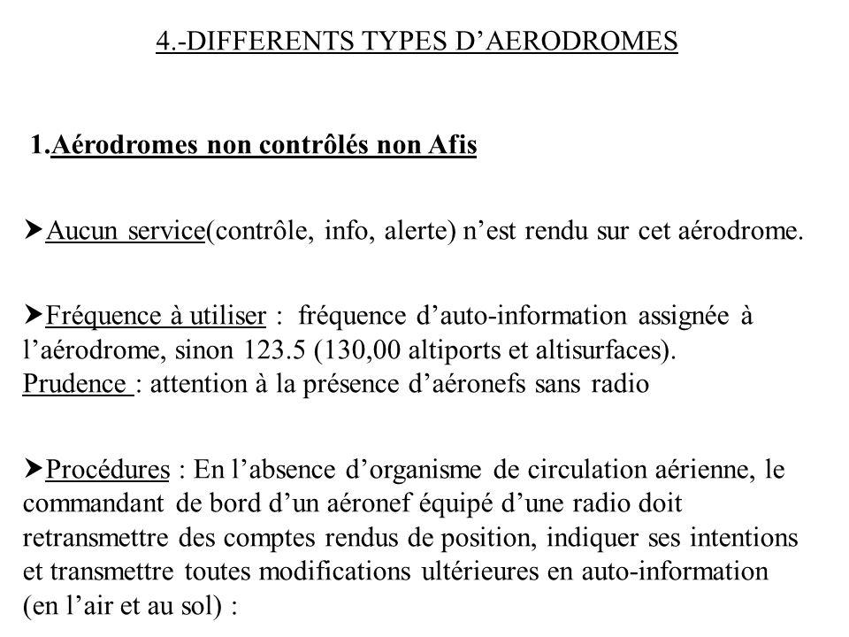 4.-DIFFERENTS TYPES DAERODROMES 1.Aérodromes non contrôlés non Afis Aucun service(contrôle, info, alerte) nest rendu sur cet aérodrome. Fréquence à ut