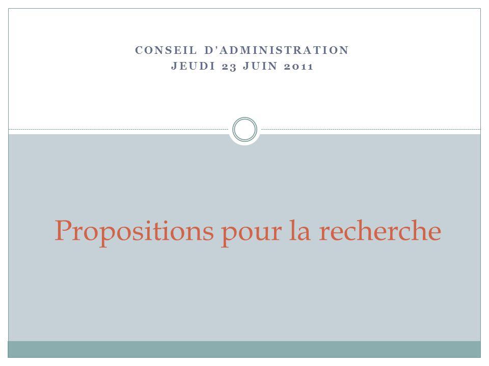 CONSEIL DADMINISTRATION JEUDI 23 JUIN 2011 Propositions pour la recherche
