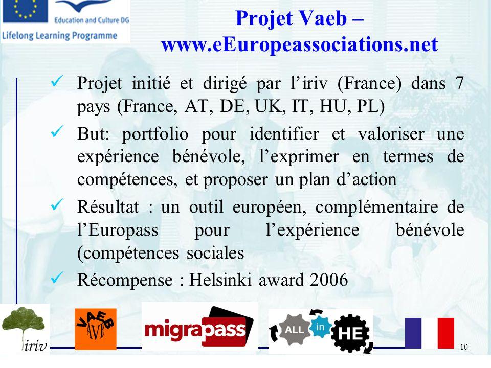 10 Projet initié et dirigé par liriv (France) dans 7 pays (France, AT, DE, UK, IT, HU, PL) But: portfolio pour identifier et valoriser une expérience
