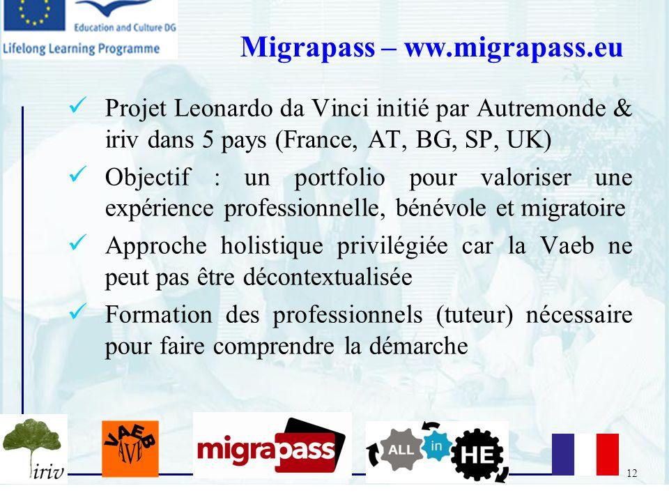 12 Projet Leonardo da Vinci initié par Autremonde & iriv dans 5 pays (France, AT, BG, SP, UK) Objectif : un portfolio pour valoriser une expérience pr
