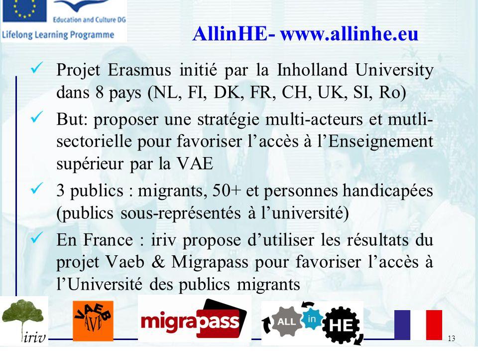 13 Projet Erasmus initié par la Inholland University dans 8 pays (NL, FI, DK, FR, CH, UK, SI, Ro) But: proposer une stratégie multi-acteurs et mutli-