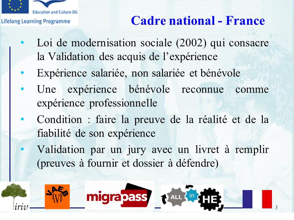 3 Loi de modernisation sociale (2002) qui consacre la Validation des acquis de lexpérience Expérience salariée, non salariée et bénévole Une expérienc