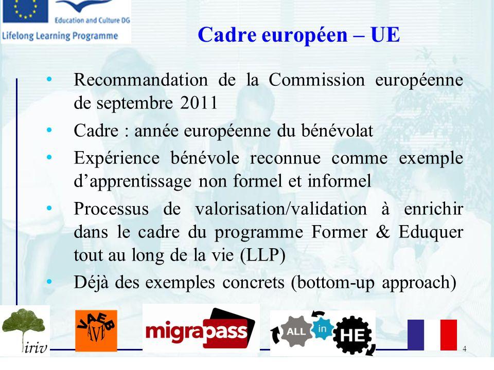 4 Recommandation de la Commission européenne de septembre 2011 Cadre : année européenne du bénévolat Expérience bénévole reconnue comme exemple dappre