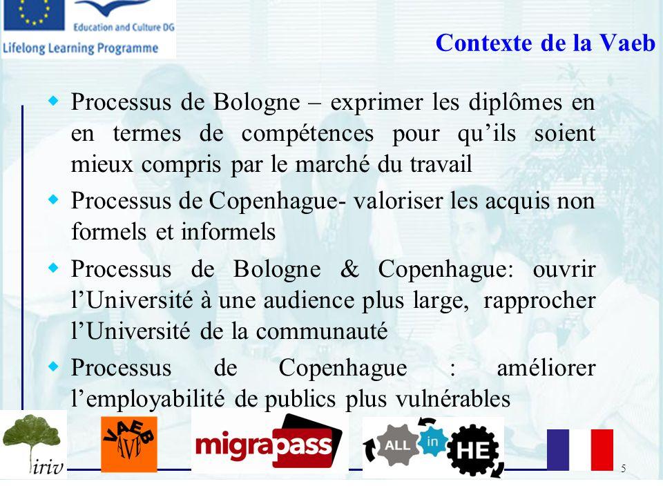 5 Contexte de la Vaeb Processus de Bologne – exprimer les diplômes en en termes de compétences pour quils soient mieux compris par le marché du travai