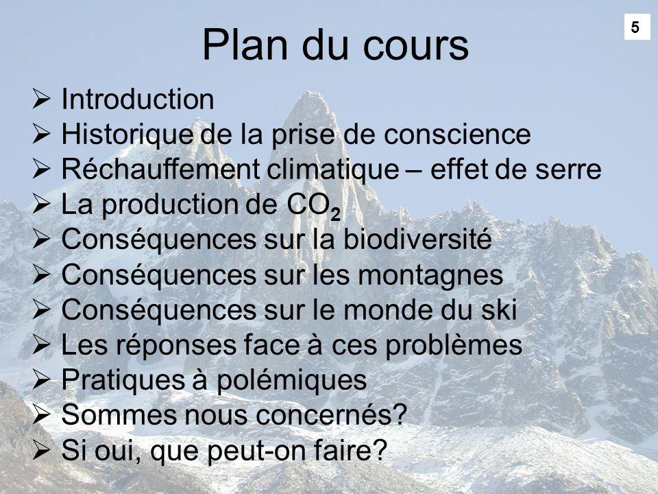 5 Plan du cours Introduction Historique de la prise de conscience Réchauffement climatique – effet de serre La production de CO 2 Conséquences sur la