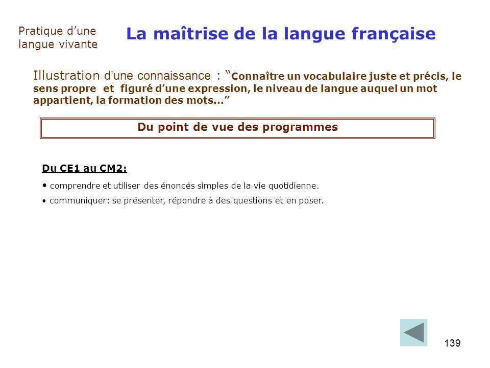139 La maîtrise de la langue française Pratique dune langue vivante Illustration dune connaissance : Connaître un vocabulaire juste et précis, le sens