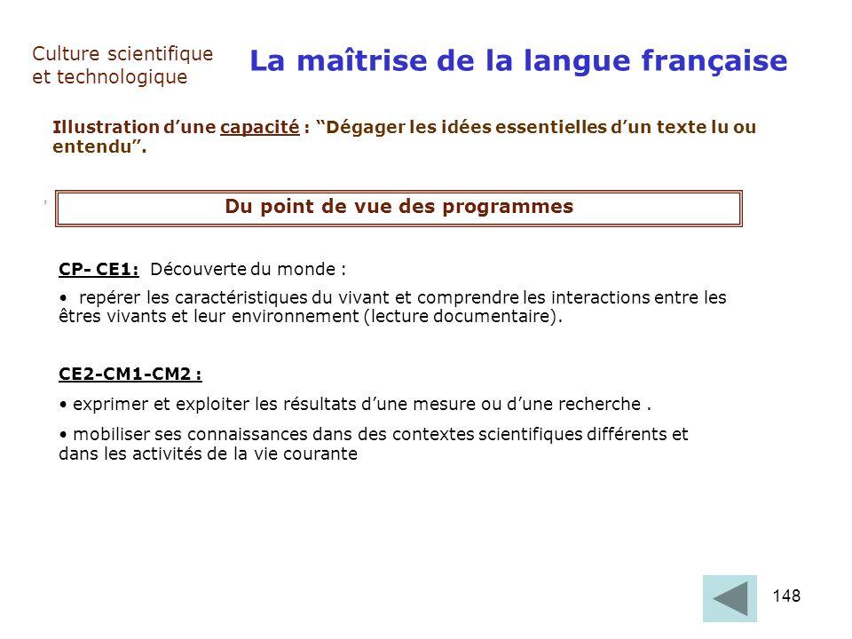 148 Culture scientifique et technologique, La maîtrise de la langue française Illustration dune capacité : Dégager les idées essentielles dun texte lu