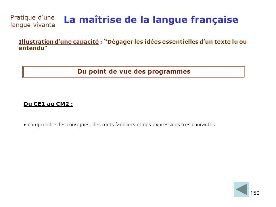 150 La maîtrise de la langue française Pratique dune langue vivante Illustration dune capacité : Dégager les idées essentielles dun texte lu ou entend