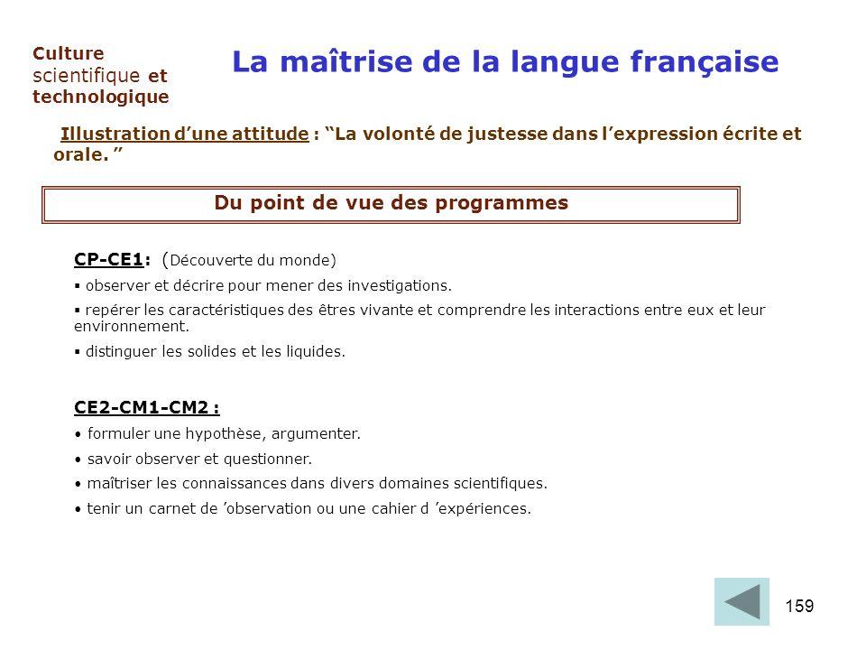 159 Culture scientifique et technologique La maîtrise de la langue française Illustration dune attitude : La volonté de justesse dans lexpression écri