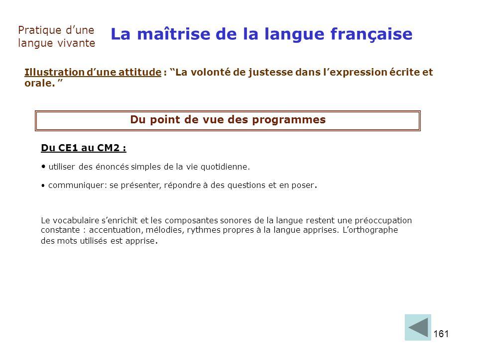161 La maîtrise de la langue française Pratique dune langue vivante Illustration dune attitude : La volonté de justesse dans lexpression écrite et ora