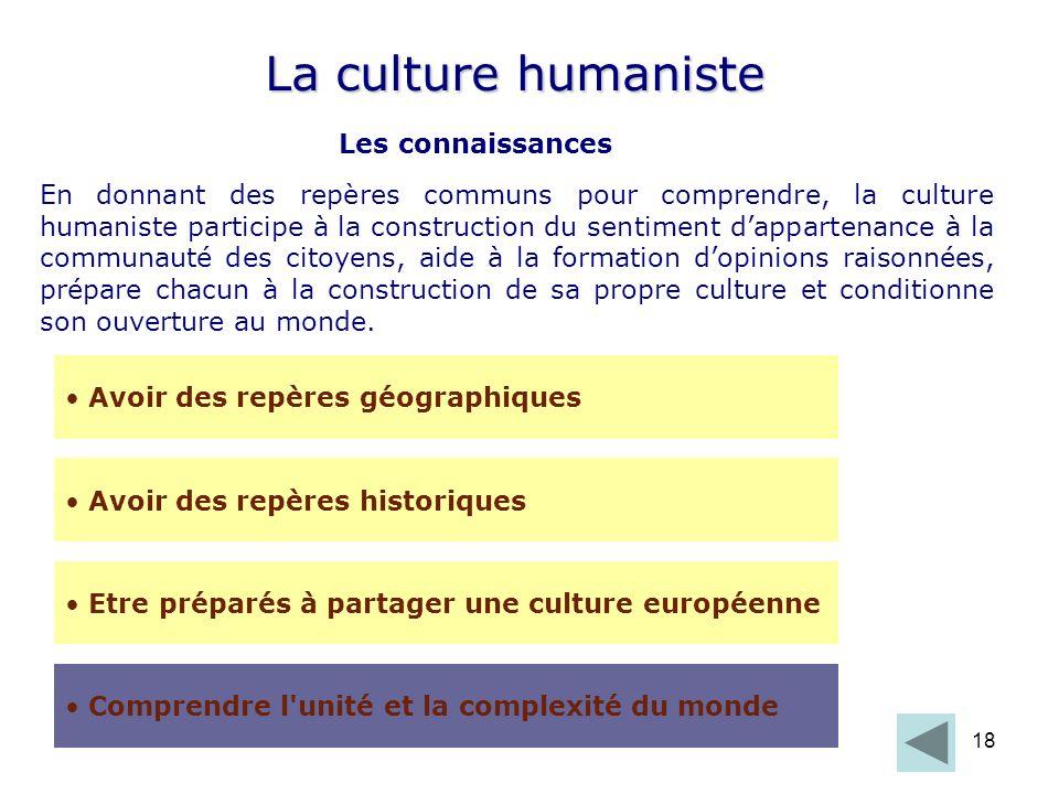 18 La culture humaniste Les connaissances Etre préparés à partager une culture européenne Avoir des repères géographiques Avoir des repères historique