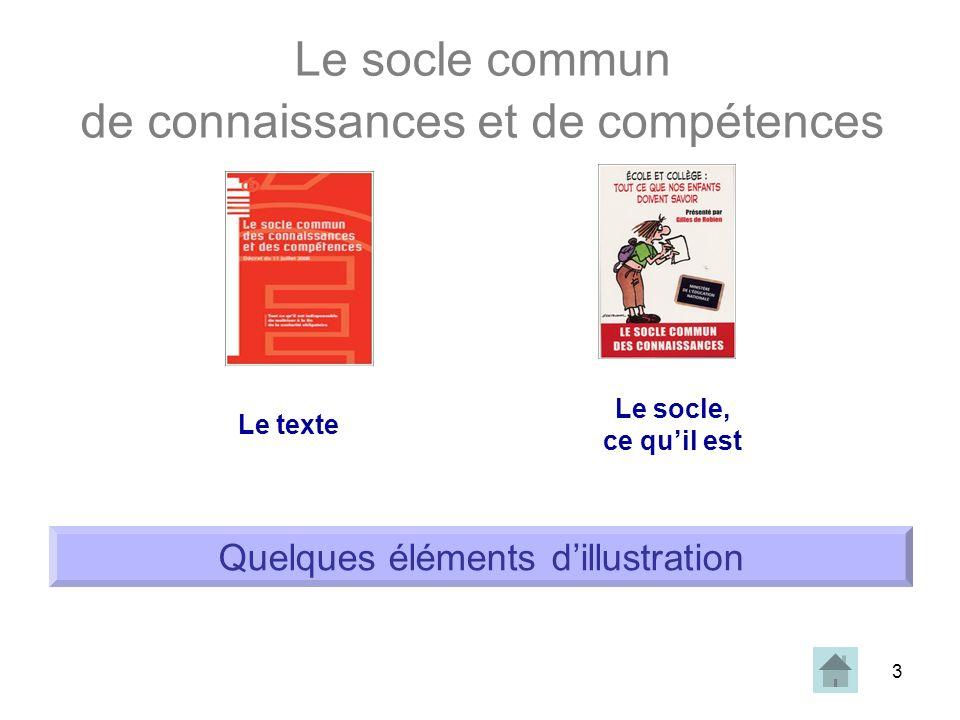 3 Le socle commun de connaissances et de compétences Le texte Le socle, ce quil est Quelques éléments dillustration