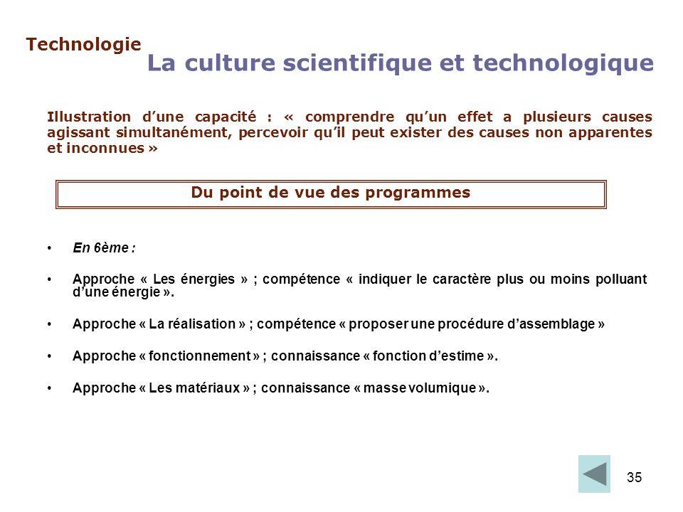 35 Technologie La culture scientifique et technologique Illustration dune capacité : « comprendre quun effet a plusieurs causes agissant simultanément