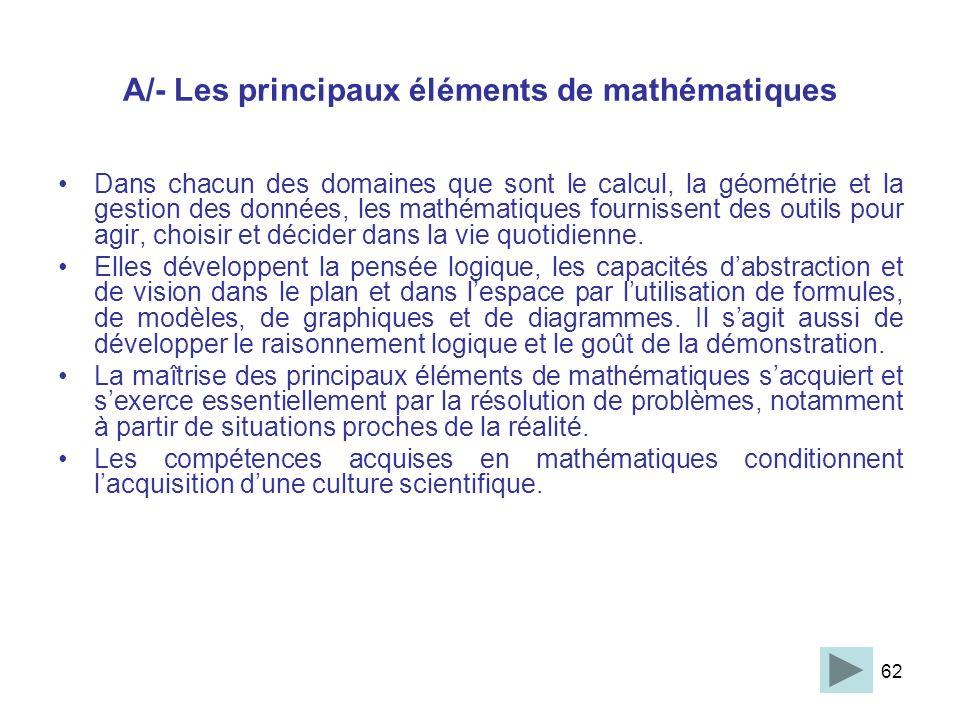 62 A/- Les principaux éléments de mathématiques Dans chacun des domaines que sont le calcul, la géométrie et la gestion des données, les mathématiques