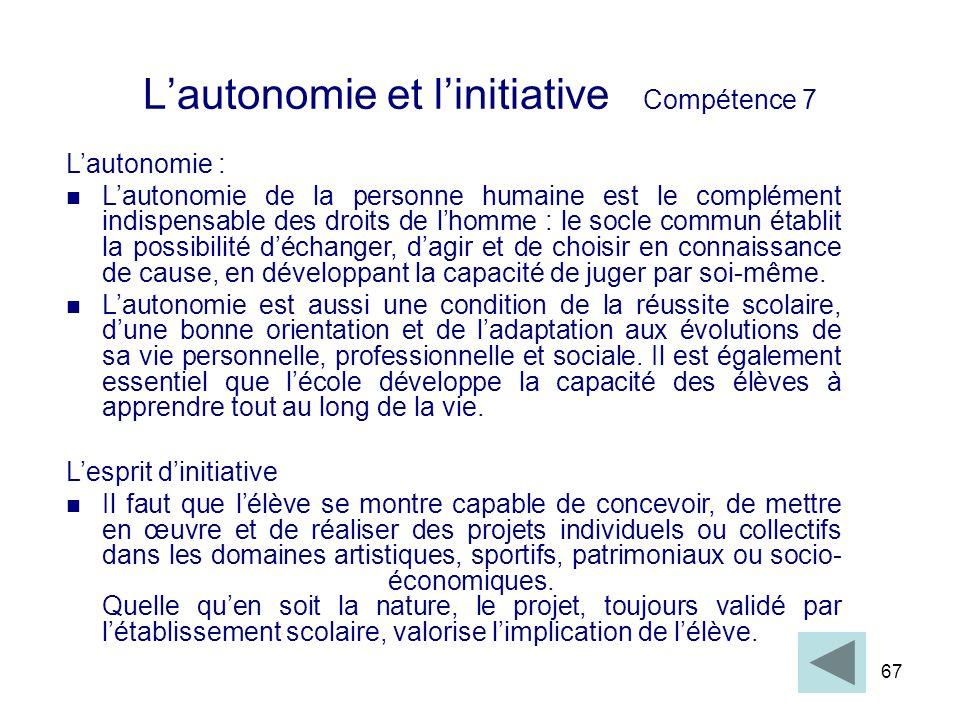 67 Lautonomie et linitiative Compétence 7 Lautonomie : Lautonomie de la personne humaine est le complément indispensable des droits de lhomme : le soc