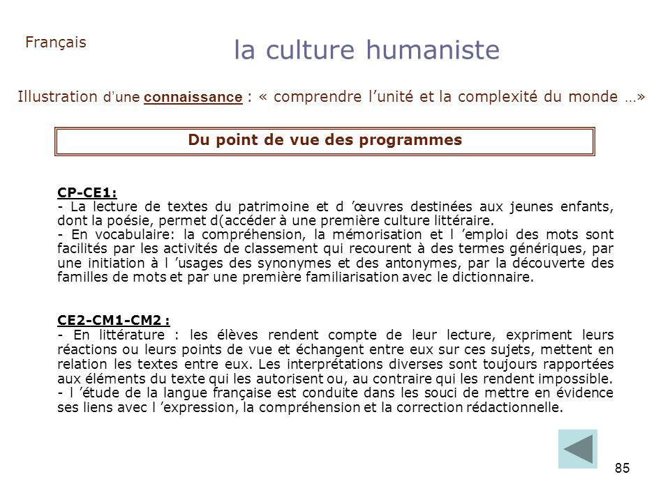 85 Français la culture humaniste Illustration dune connaissance : « comprendre lunité et la complexité du monde …» Du point de vue des programmes CP-C