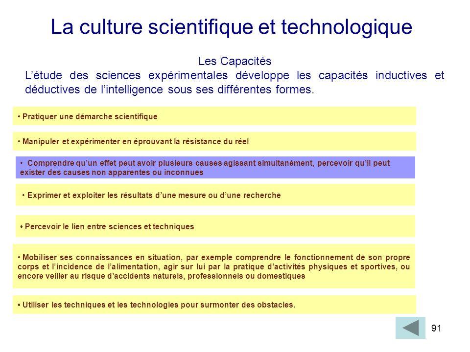91 La culture scientifique et technologique Les Capacités Létude des sciences expérimentales développe les capacités inductives et déductives de linte