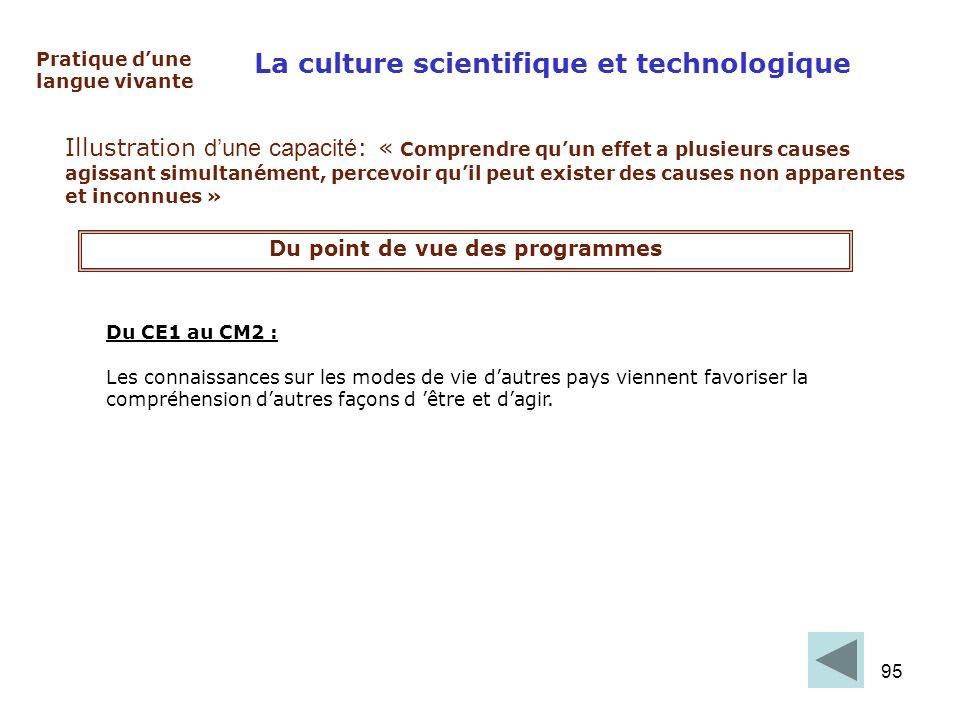 95 La culture scientifique et technologique Pratique dune langue vivante Illustration dune capacité : « Comprendre quun effet a plusieurs causes agiss