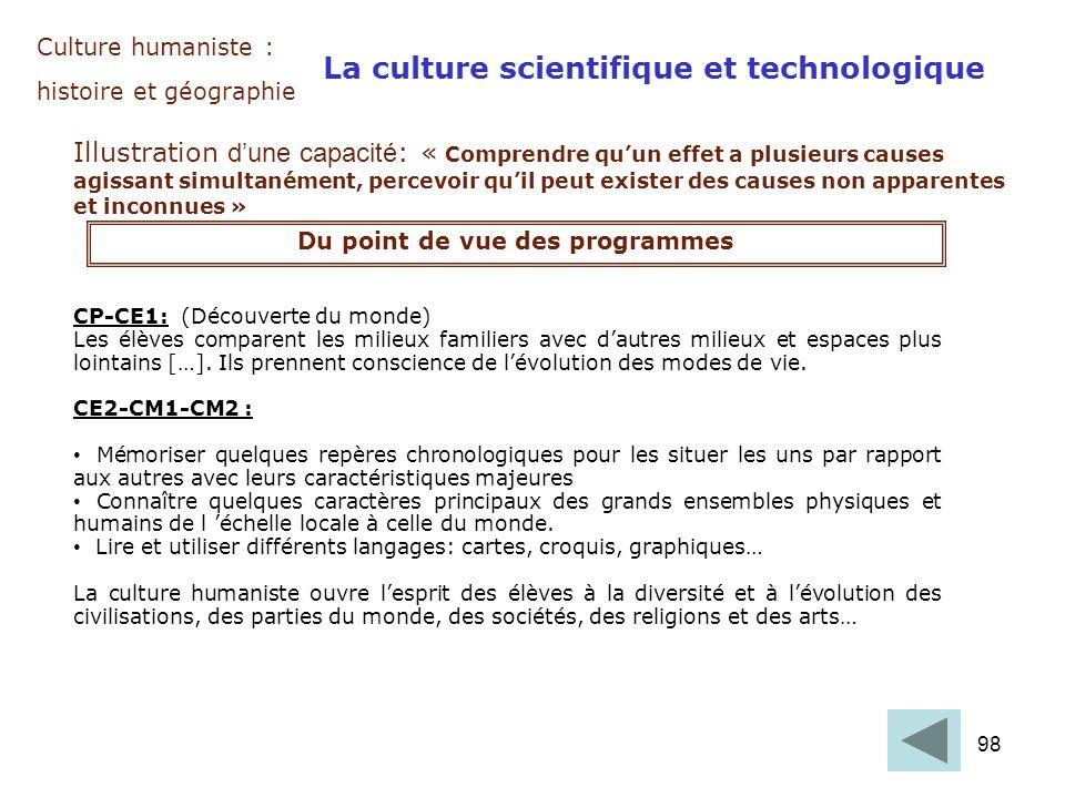 98 Culture humaniste : histoire et géographie La culture scientifique et technologique Illustration dune capacité : « Comprendre quun effet a plusieur