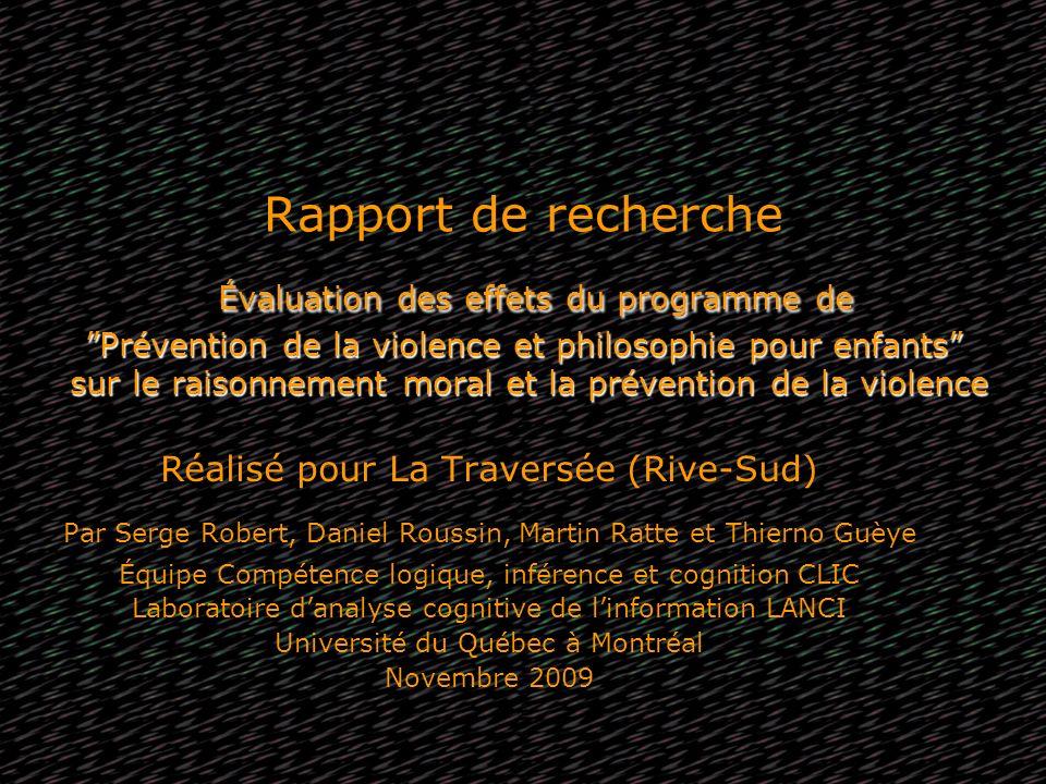 Évaluation des effets du programme de Prévention de la violence et philosophie pour enfants sur le raisonnement moral et la prévention de la violence