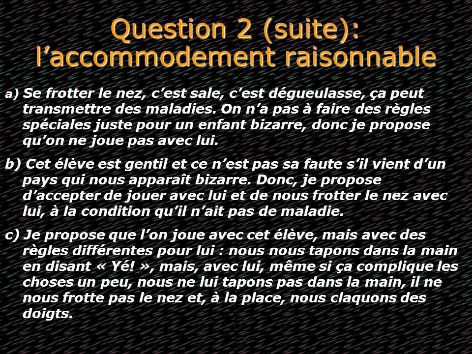 Question 2 (suite): laccommodement raisonnable a) Se frotter le nez, cest sale, cest dégueulasse, ça peut transmettre des maladies. On na pas à faire