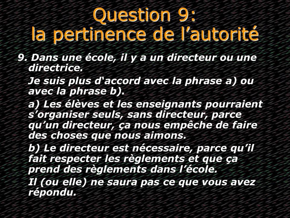 Question 9: la pertinence de lautorité 9. Dans une école, il y a un directeur ou une directrice. Je suis plus daccord avec la phrase a) ou avec la phr