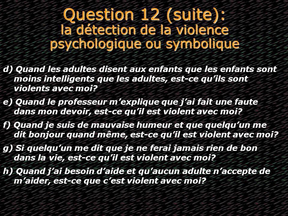 Question 12 (suite): la détection de la violence psychologique ou symbolique d) Quand les adultes disent aux enfants que les enfants sont moins intell