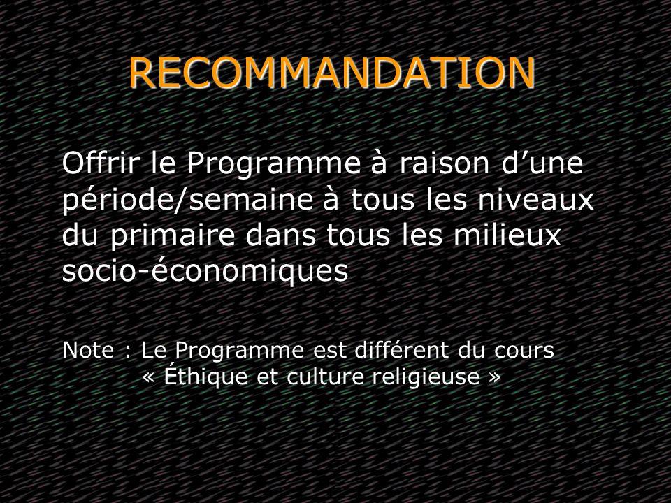 RECOMMANDATION Offrir le Programme à raison dune période/semaine à tous les niveaux du primaire dans tous les milieux socio-économiques Note : Le Prog