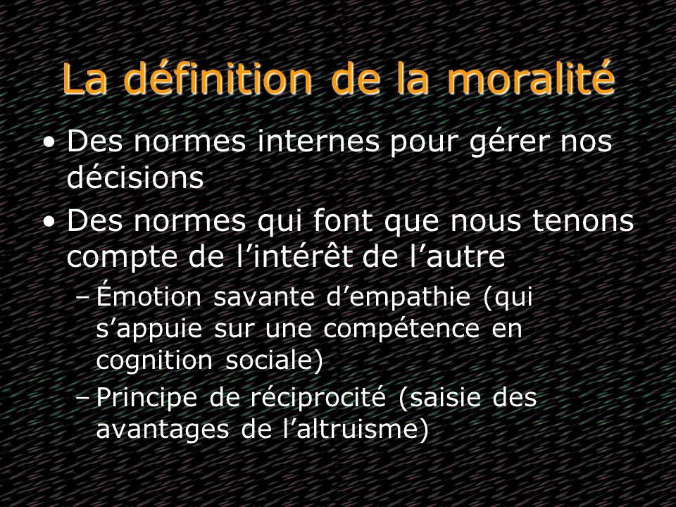 La définition de la moralité Des normes internes pour gérer nos décisions Des normes qui font que nous tenons compte de lintérêt de lautre –Émotion sa