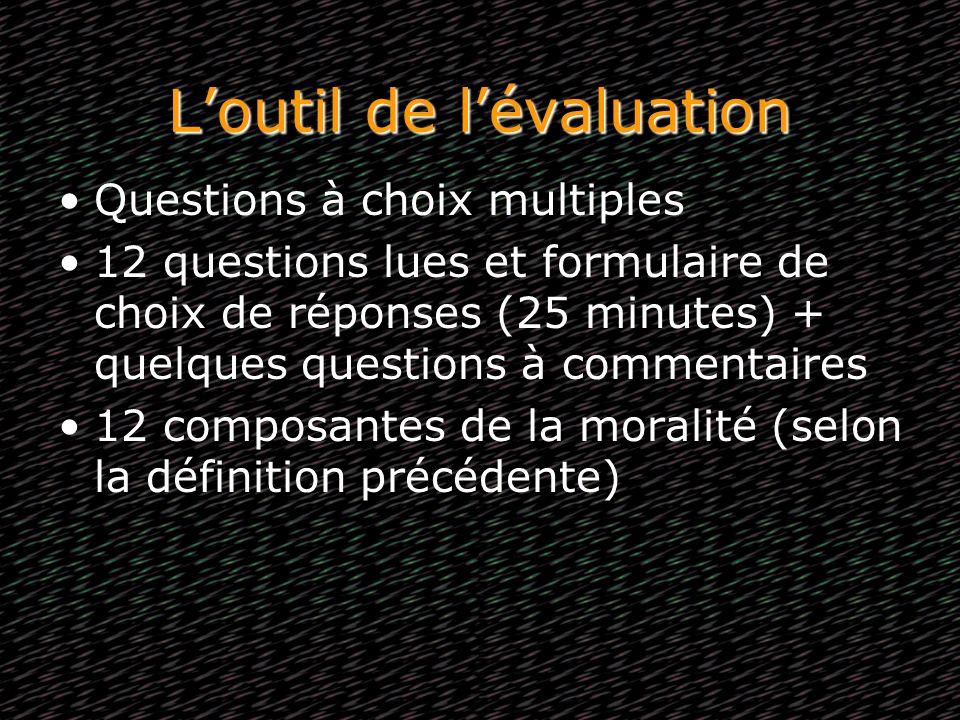Loutil de lévaluation Questions à choix multiples 12 questions lues et formulaire de choix de réponses (25 minutes) + quelques questions à commentaire