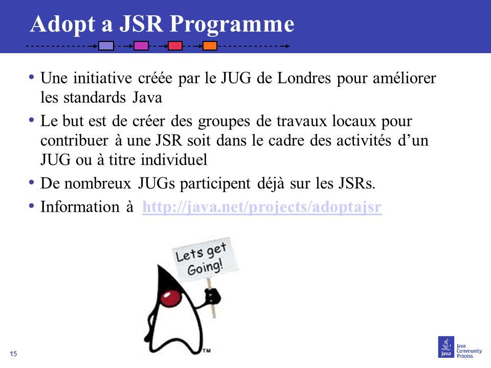 15 Adopt a JSR Programme Une initiative créée par le JUG de Londres pour améliorer les standards Java Le but est de créer des groupes de travaux locau
