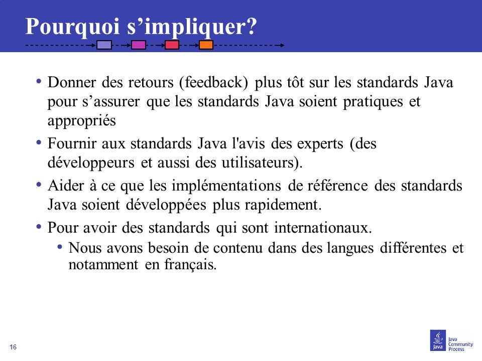 16 Donner des retours (feedback) plus tôt sur les standards Java pour sassurer que les standards Java soient pratiques et appropriés Fournir aux stand