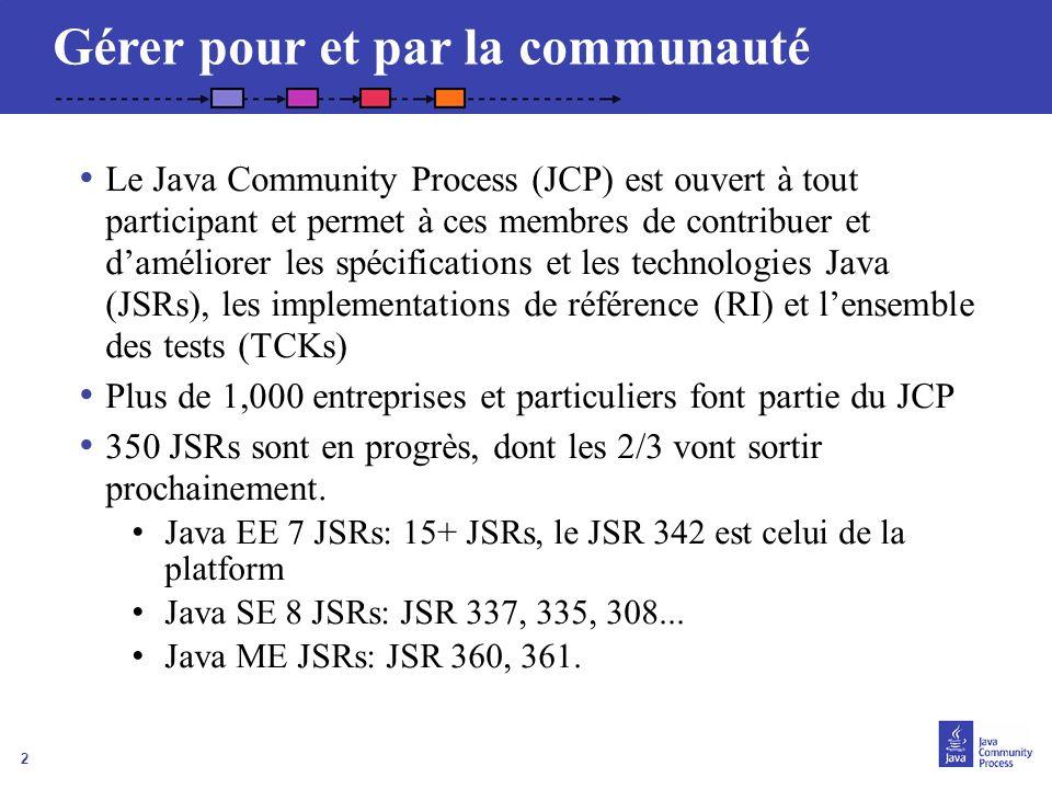 2 Gérer pour et par la communauté Le Java Community Process (JCP) est ouvert à tout participant et permet à ces membres de contribuer et daméliorer le