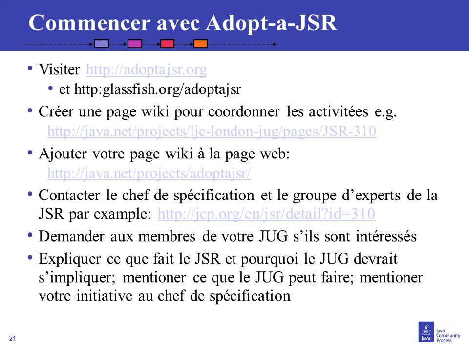 21 Commencer avec Adopt-a-JSR Visiter http://adoptajsr.orghttp://adoptajsr.org et http:glassfish.org/adoptajsr Créer une page wiki pour coordonner les