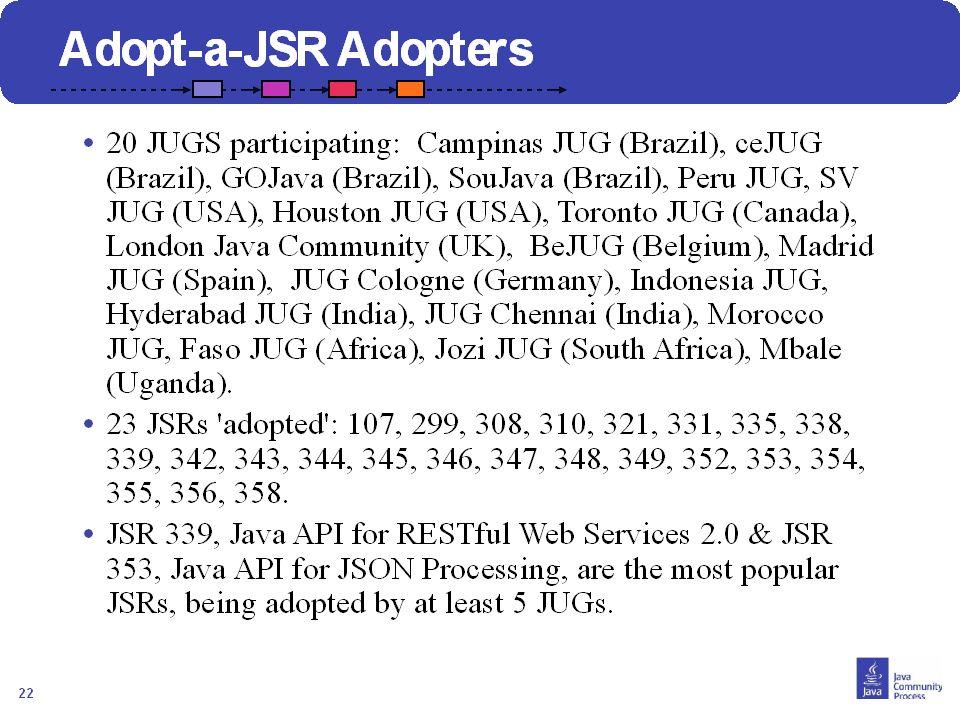 23 Comment Joindre? Contacter votre JUG leader Visiter http://java.net/projects/adoptajsr et suivre les étapes décrites suivantes :http://java.net/pro