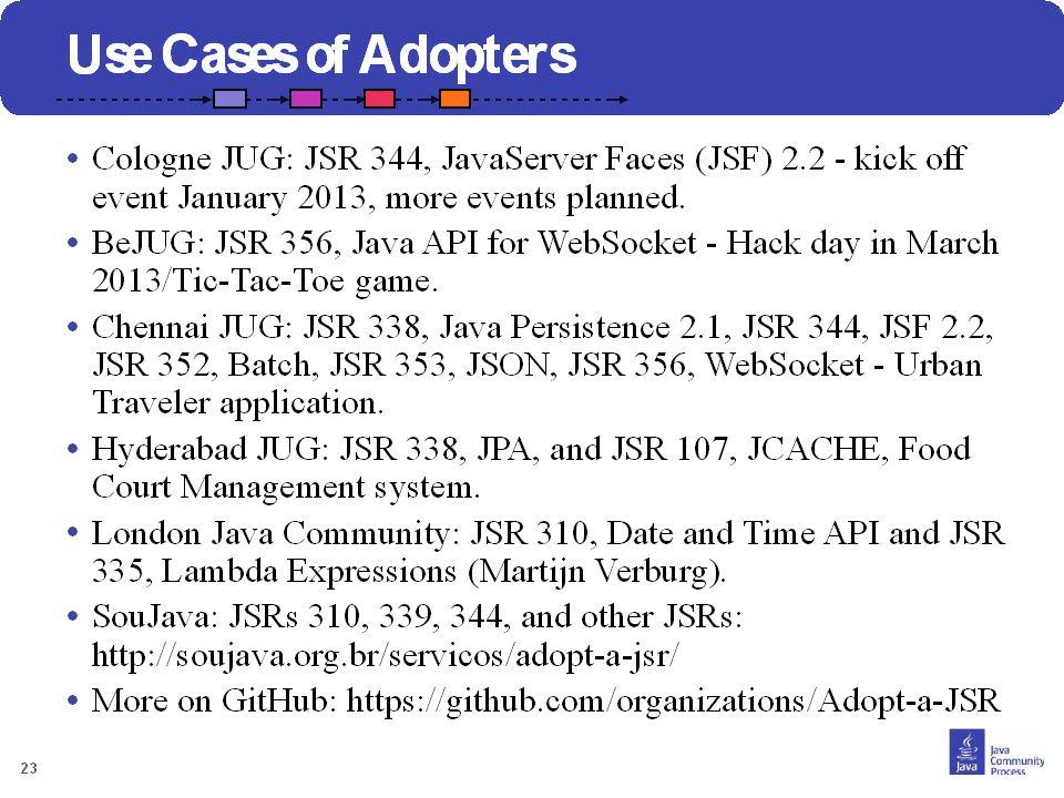 24 Comment Joindre? Contacter votre JUG leader Visiter http://java.net/projects/adoptajsr et suivre les étapes décrites suivantes :http://java.net/pro