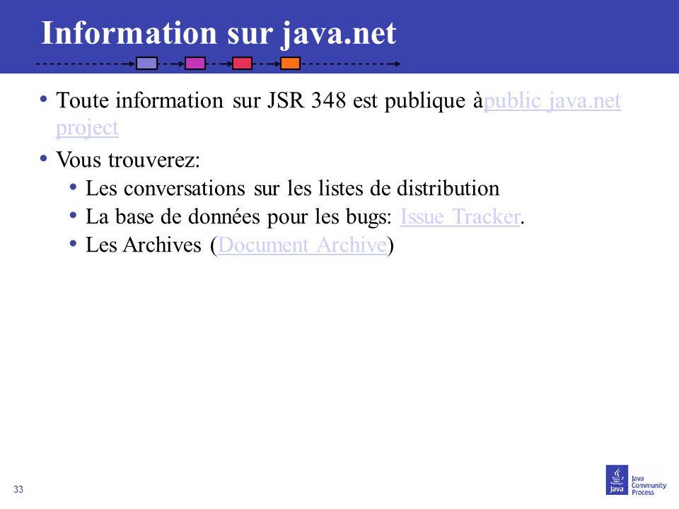 33 Information sur java.net Toute information sur JSR 348 est publique àpublic java.net projectpublic java.net project Vous trouverez: Les conversatio