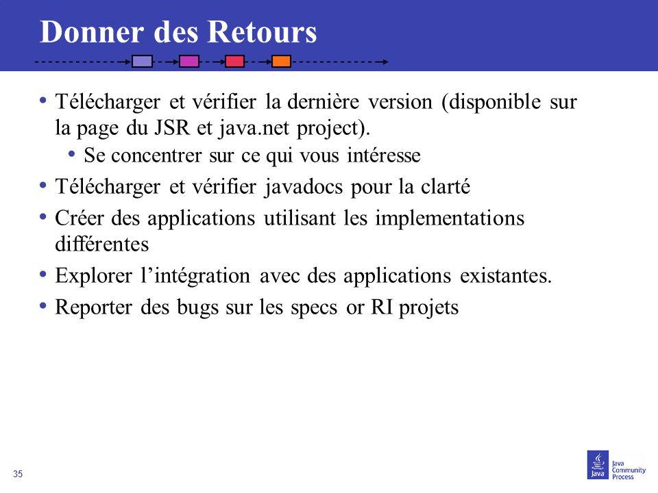 35 Donner des Retours Télécharger et vérifier la dernière version (disponible sur la page du JSR et java.net project). Se concentrer sur ce qui vous i