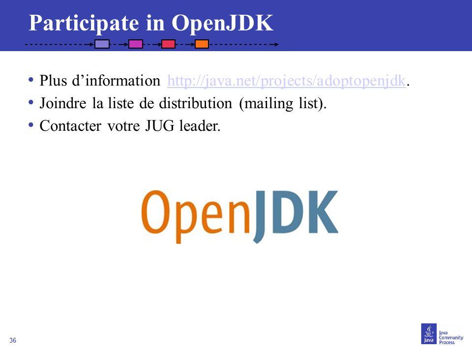 36 Participate in OpenJDK Plus dinformation http://java.net/projects/adoptopenjdk.http://java.net/projects/adoptopenjdk Joindre la liste de distributi