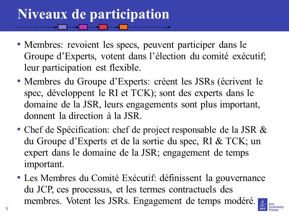 5 Niveaux de participation Membres: revoient les specs, peuvent participer dans le Groupe dExperts, votent dans lélection du comité exécutif; leur par