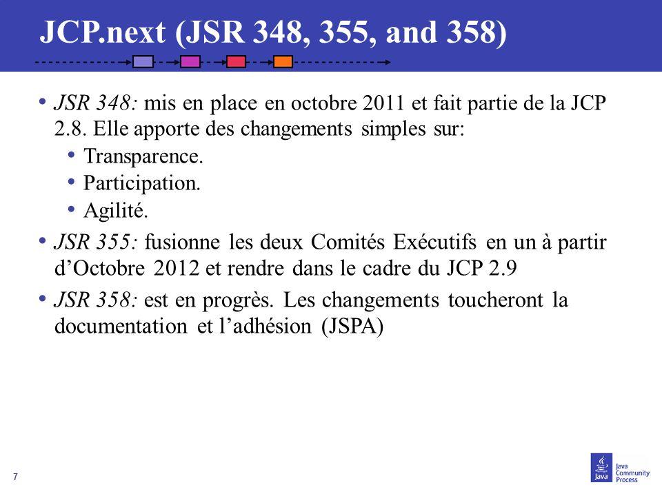 7 JCP.next (JSR 348, 355, and 358) JSR 348: mis en place en octobre 2011 et fait partie de la JCP 2.8. Elle apporte des changements simples sur: Trans