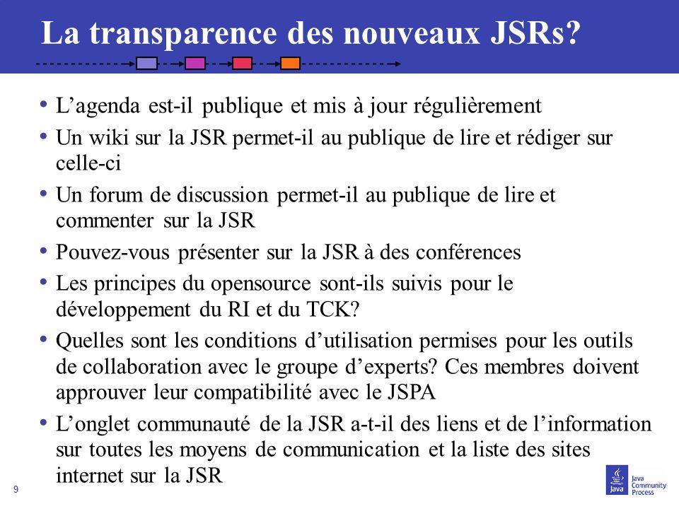 9 La transparence des nouveaux JSRs? Lagenda est-il publique et mis à jour régulièrement Un wiki sur la JSR permet-il au publique de lire et rédiger s