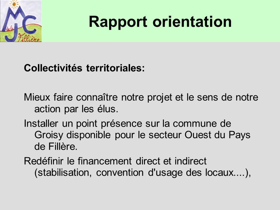 Rapport orientation Collectivités territoriales: Mieux faire connaître notre projet et le sens de notre action par les élus. Installer un point présen