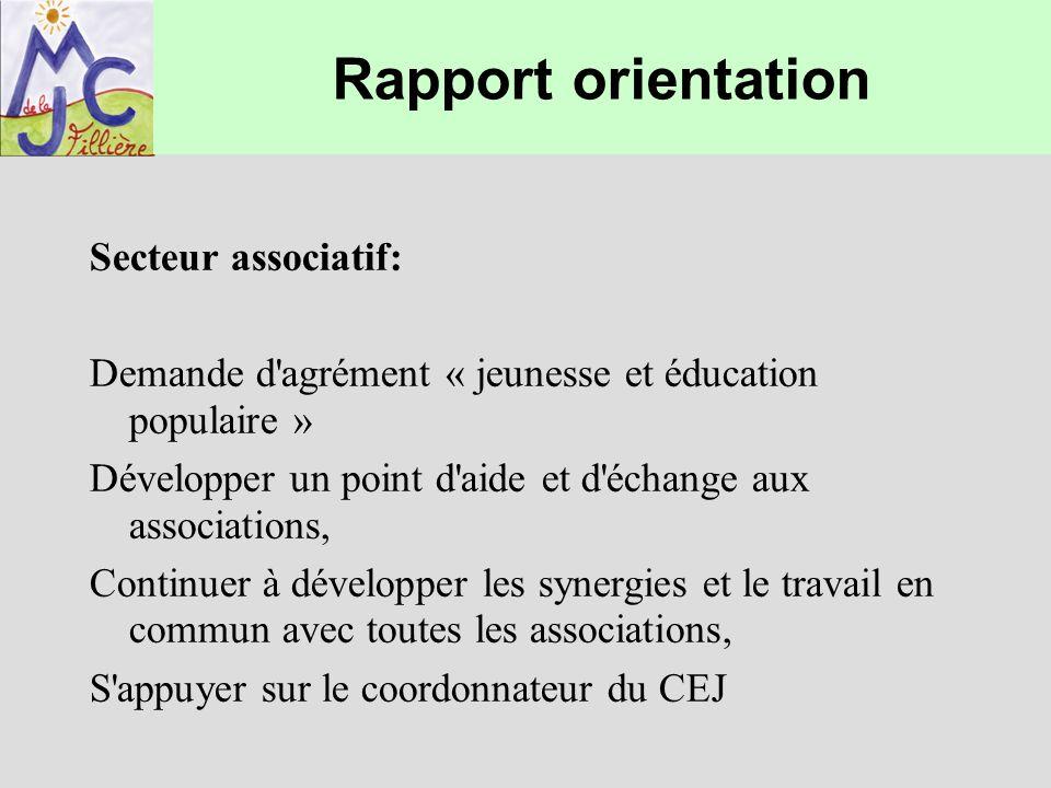 Rapport orientation Secteur associatif: Demande d'agrément « jeunesse et éducation populaire » Développer un point d'aide et d'échange aux association