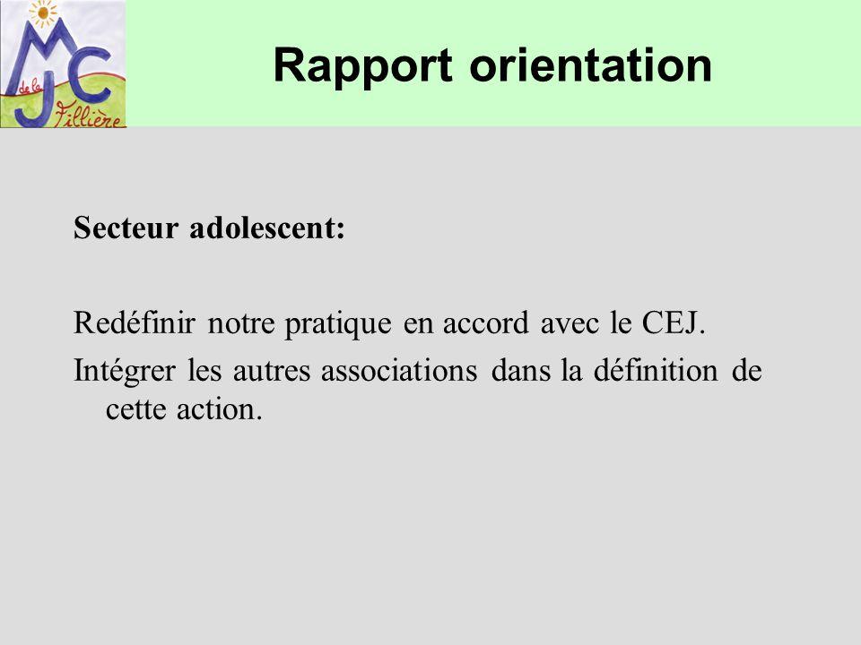 Rapport orientation Secteur adolescent: Redéfinir notre pratique en accord avec le CEJ. Intégrer les autres associations dans la définition de cette a