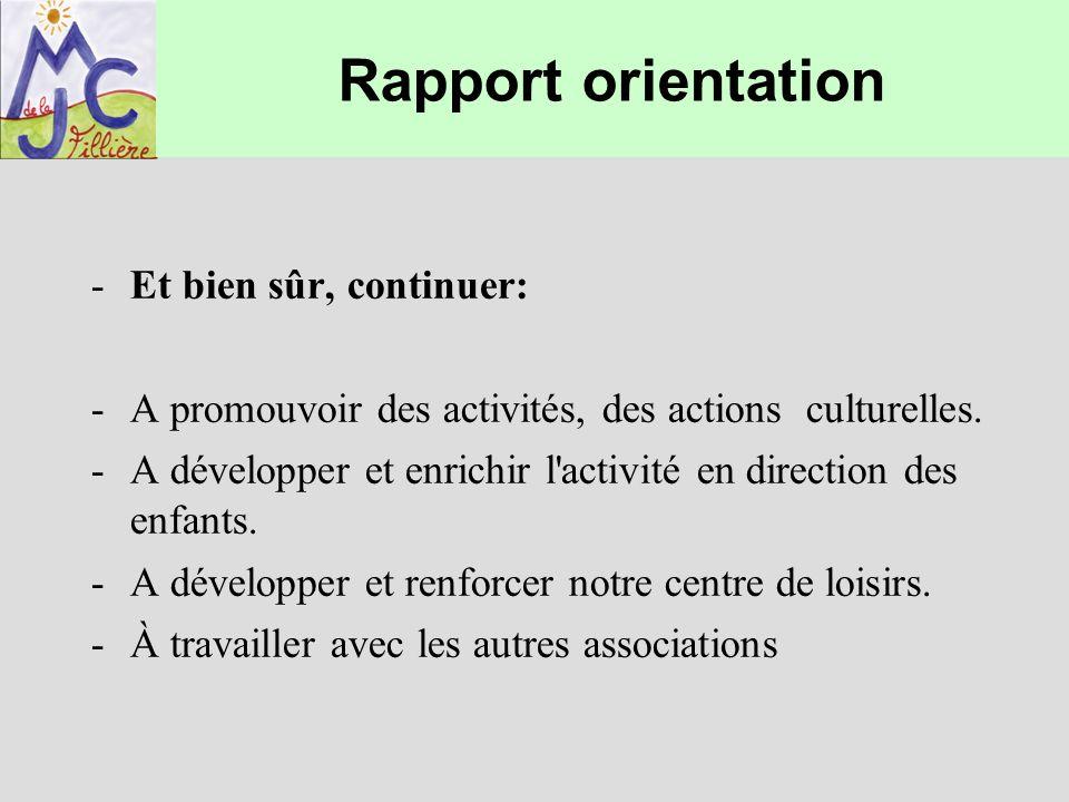 Rapport orientation -Et bien sûr, continuer: -A promouvoir des activités, des actions culturelles. -A développer et enrichir l'activité en direction d