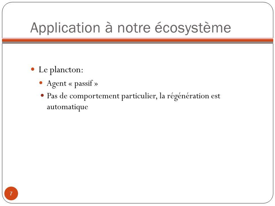 Application à notre écosystème Le plancton: Agent « passif » Pas de comportement particulier, la régénération est automatique 7