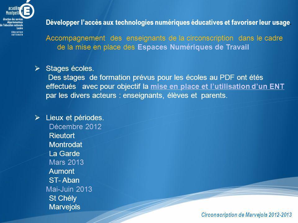 Développer laccès aux technologies numériques éducatives et favoriser leur usage. Stages écoles. Des stages de formation prévus pour les écoles au PDF